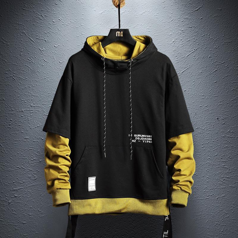 Erkek Hoodies Tişörtü Hoodie Kazak Erkek Hip Hop Kazak Streetwear Rahat Moda Giysileri Colorblock 2021 Pamuk