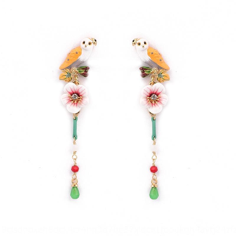 Fashion temperament enamel glaze owl simple long tassel pendant Pendant and earrings earrings for women