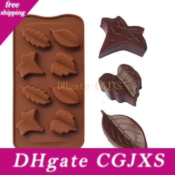 Leaf Silicone Candy Mold Chocolate Moulds Tray Cupcake Topper Party Cake Mold Ice Cube Trays 8 Leaves Baking Tools Wholesale 10pcs