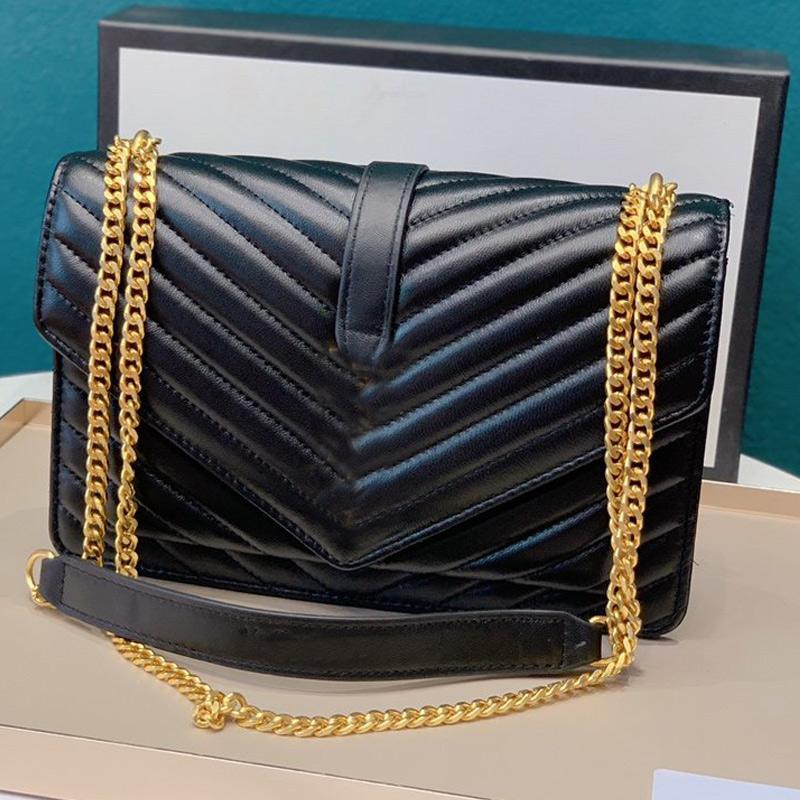 Messenger Bag Women Handbag Purse Genuine Leather Wave Pattern Chain Shoulder Bags Fashion Y letter Golden Hardware Flap Two Size