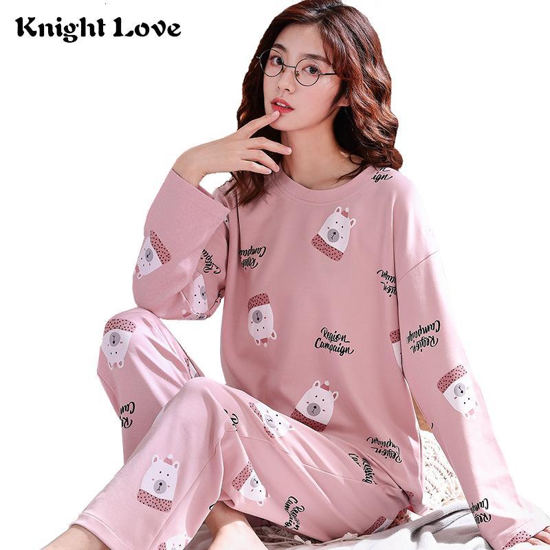 21 Farben-Frauen-Set Runde Ne Dame-nette Karikatur druckte Long Sleeve Cotton Nachtwäsche Female Pyjamas Startseite Kleidung