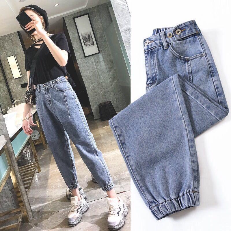 Негабаритная высоких джинсы талии эластичной свободных корейских JEANS женщина бойфренд женских брюки плюс размера негабаритных джинсов женских брюки 2019 CX200821