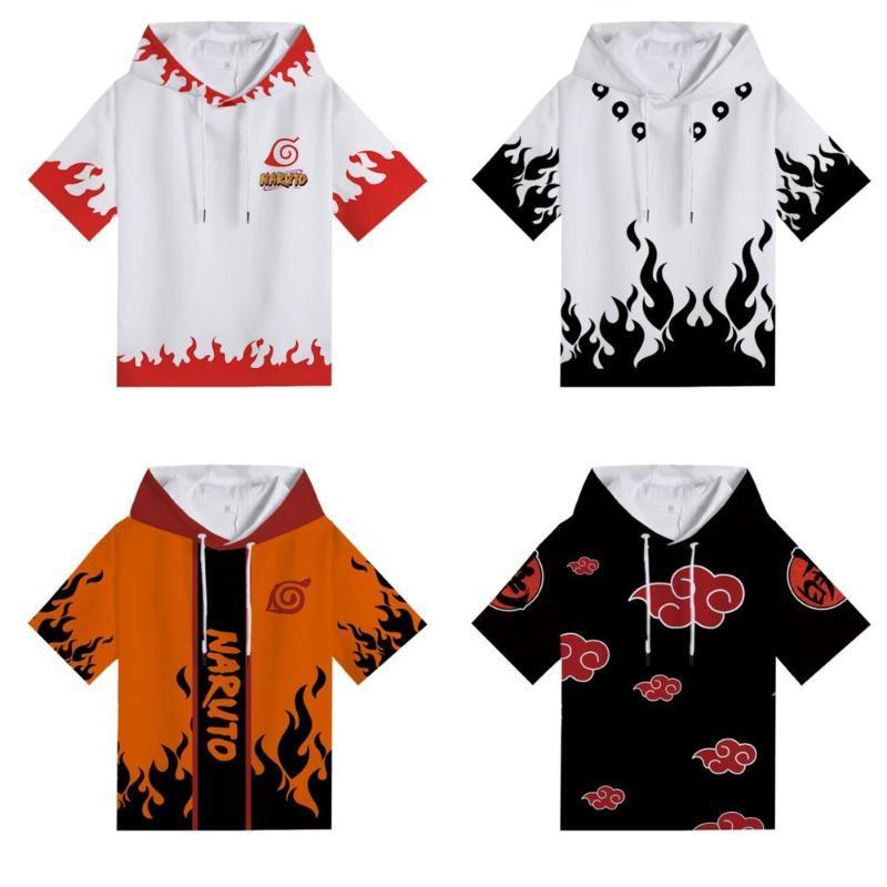 Anime Naruto Uchiha Itachi con capucha camiseta Adolescente Niños 3D ocasional de la impresión de manga corta de los hombres de Hip-hop verano Tees ropa Cosplay