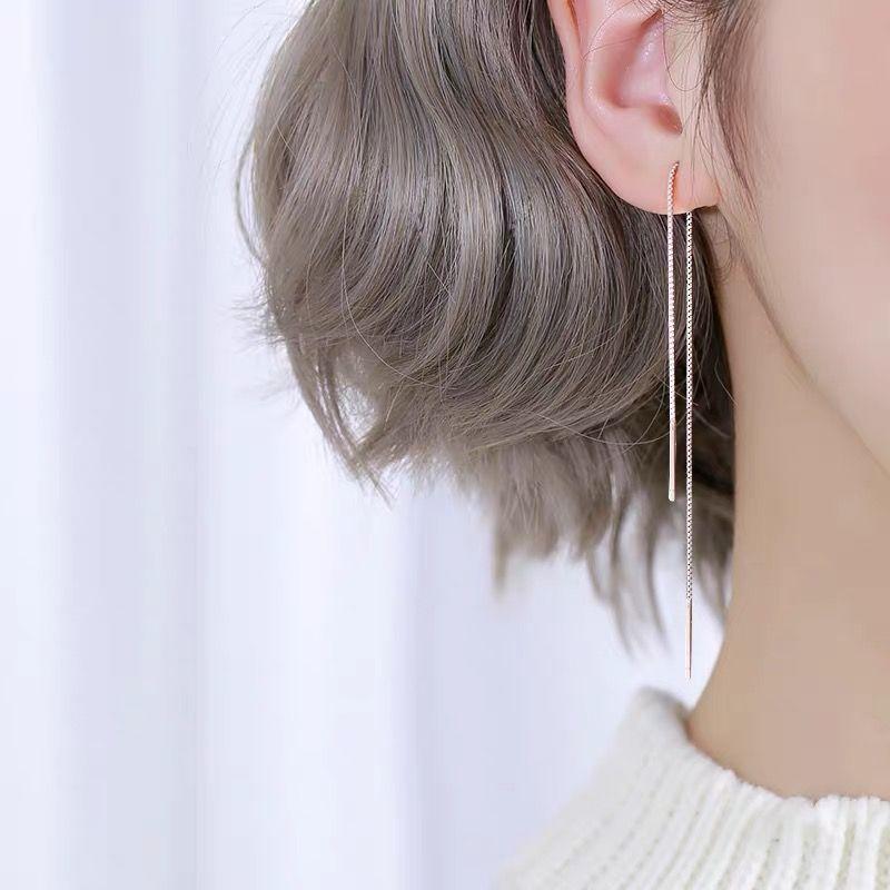 925 del oído Pendientes de plata largas de la moda de la borla de 200 mm Línea de cadena pendiente de la personalidad de la manera salvaje femenino joyería de plata del oído