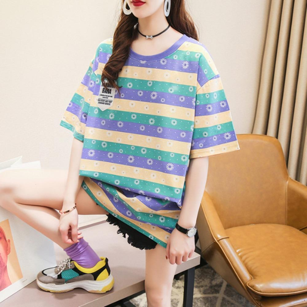 Women's short T-shirt sleeve loose mid-length T-shirt with cotton Daisy stripes 2020 Summer new ins Korean student short sleeve