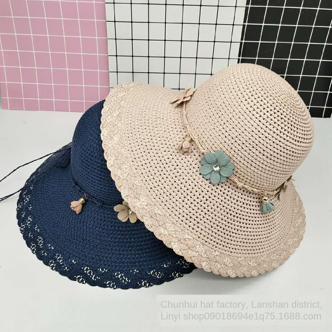 Frauen-Sommer-Strand große Krempe Allgleiches Straw Stroh Reise Sonne Sonnenhut Papier Geflecht Hut faltet