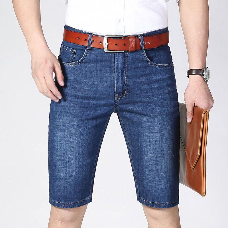 Jeans da uomo Jeans Short Men Brand Fashion Stretch Denim Business Casual Dritto Dritto Blu Jean Pantaloncini allentati
