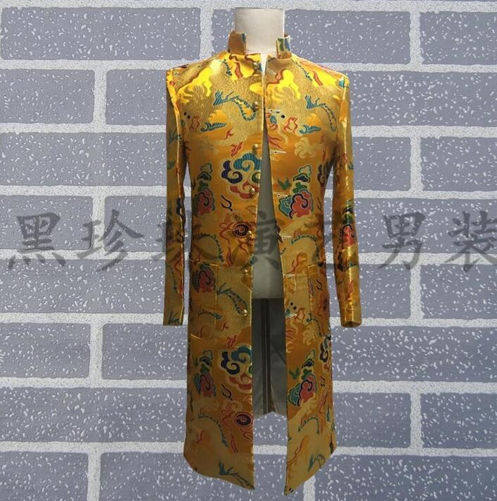 Costumes For Singers Personalized Slim Gold Blazer Mens Embroidery Suits Long Design Chinese Tunic Suits Men Designs Fashion