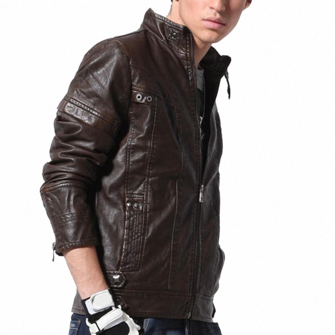 Erkek Deri Ceket İyi Kalite Klasik Motosiklet Bisiklet Kovboy Ceket Erkek Artı boyutu Casual Giyim 3XL Siyah Kahverengi 1LHf #
