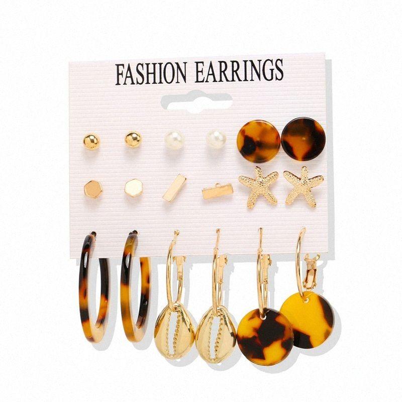 Boucles d'oreilles pour les femmes 9 Paire / Set Vintage Bijoux irrégulière Shell Cercle Punk Lady boucle d'oreille Brincos Oorbellen 92lt #