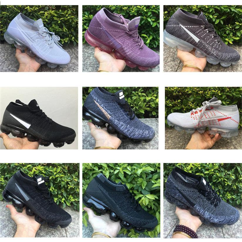 2018 Chaussures Moc Vapores Knit 1.0 pattini correnti del mens Triple Black White Run Womens Sport scarpa da tennis Cuscino Trainer Zapatos