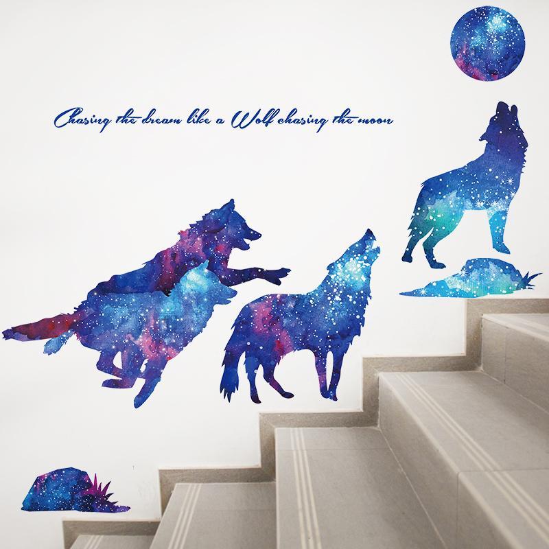 [Shijuekongjian] Lua Lobo Wall Stickers DIY Mural decalques animal dos desenhos animados para quartos de crianças bebê Quarto Nursery Decoração