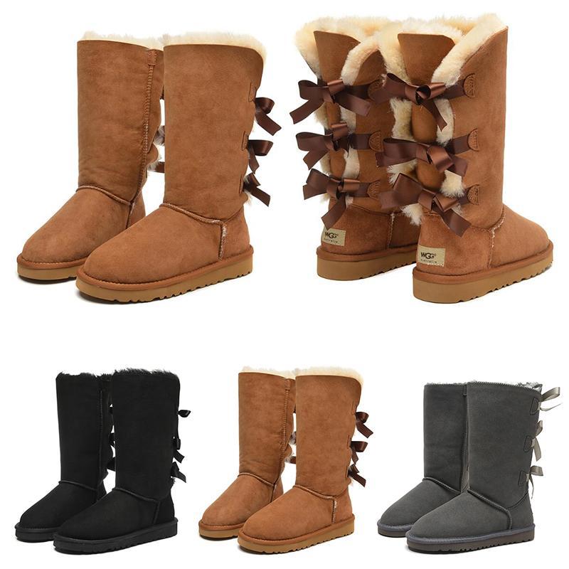 2021 여자 신발 소녀 클래식 스노우 무릎 부츠 3 활 모피 부팅 겨울 검은 gery 밤나무 여성 패션 야외 크기 5-10