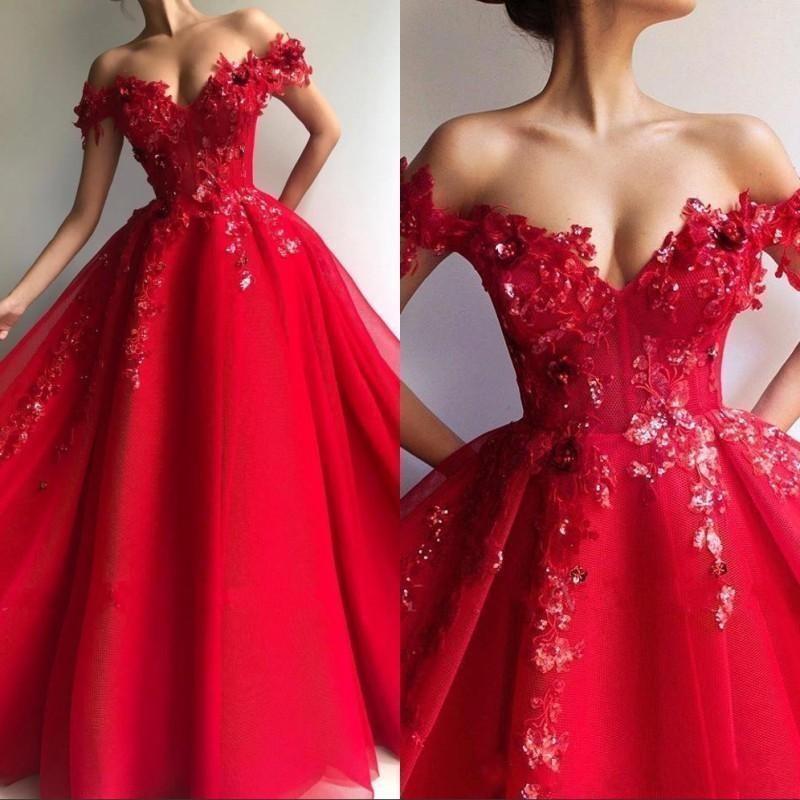 2020 Sexy Red Une ligne Quinceanera épaules dentelle 3D Paillettes dos ouvert Appliques partie du bonbon 16 Plus Size Prom Robes de soirée