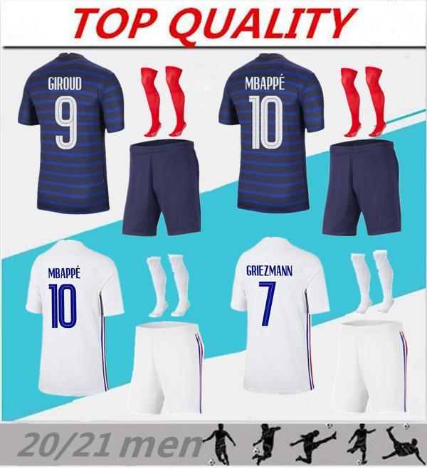 Hommes 2020 2021 Football Kits FR Mbappe Grieuzmann Pogba Soccer Jerseys 20/21 Maillots de Football Home Away Football Shirts Uniformes