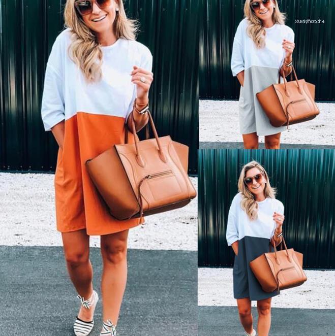 Luxus-Designer Short Sleeve Damenmode neue beiläufige mit Rundhalsausschnitt Damen Kleid Mode Patchwork Multicolor Damen Kleid