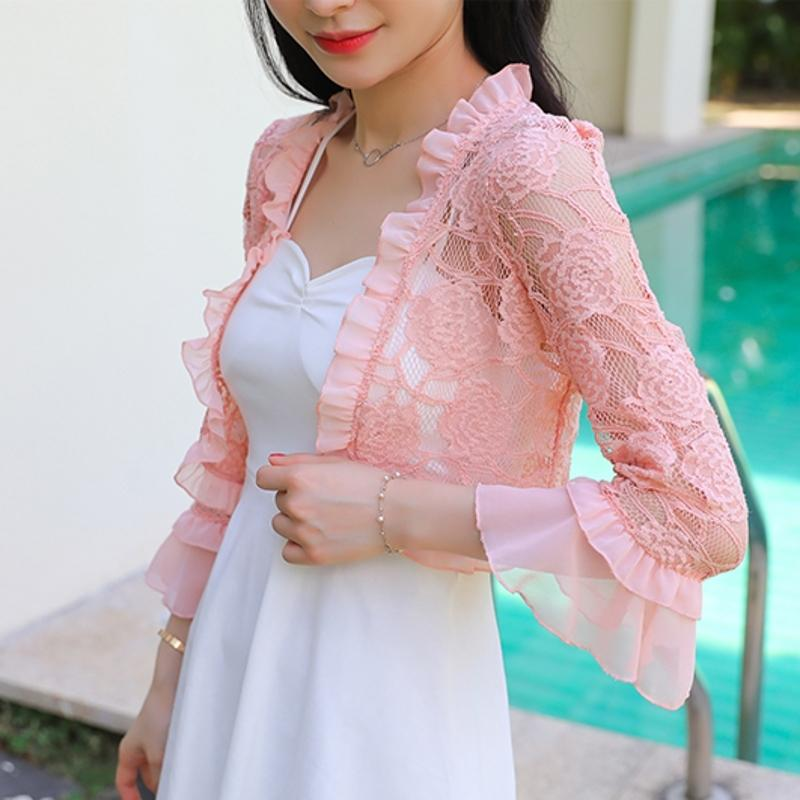 Summer 2019 Lace Shirt Women Blouse Hollow Out Lace Crochet Short Tops Cardigan Shawl Waistcoat Vest blusas femininas T91591 Y200827