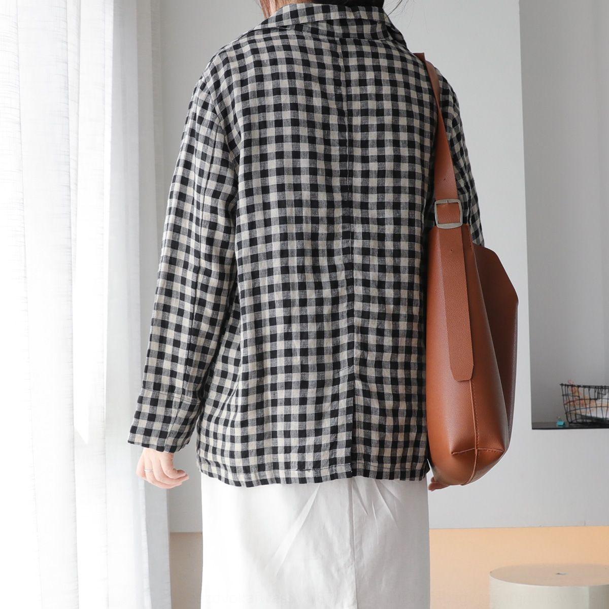 sERha chaqueta de las mujeres delgadas 010.865 clásico de otoño aLD3o a cuadros mitad de la longitud elegante juego de la capa de adelgazamiento flojo ocasional