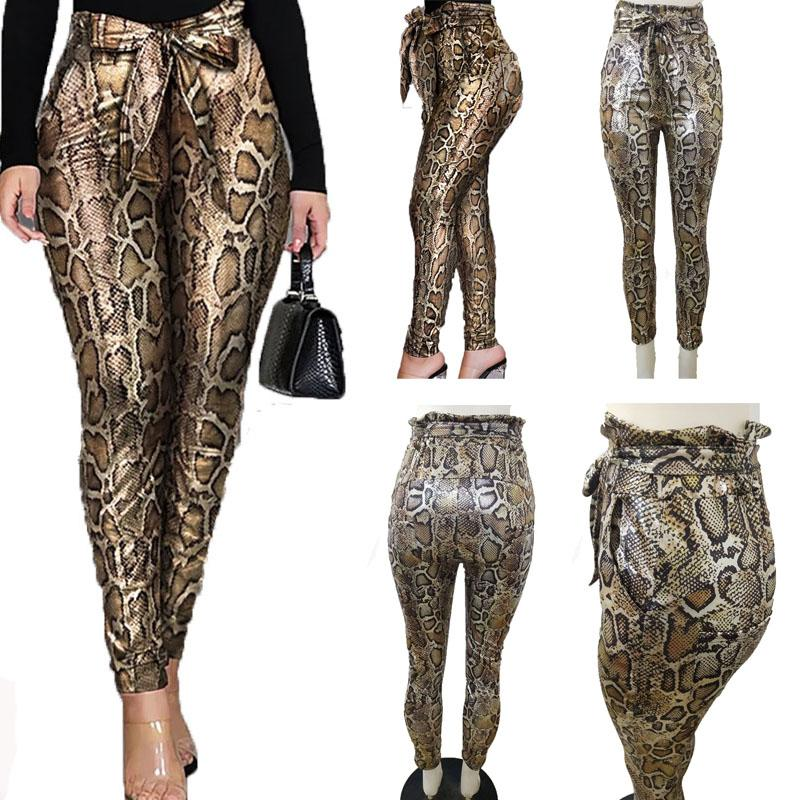 Wholesale leopard snake print high waist flare pants Yoga Leggings For Women casual clothes women sexy streetwear trousers