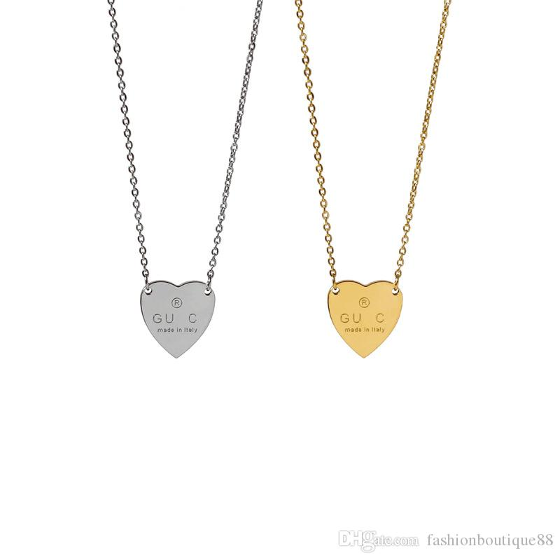 Designer bijoux femmes coeur collier en acier inoxydable argent rose lettre oreillettes et collier costume mode rétro star style star