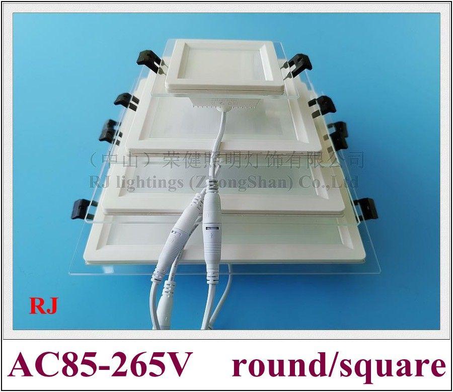 Lámpara de luz LED empotrada Lámpara de luz con vidrio 24W / 18W / 12W / 6W SMD 5730 CE RoHS LED Down Light Square y Redondo Vidrio de aluminio