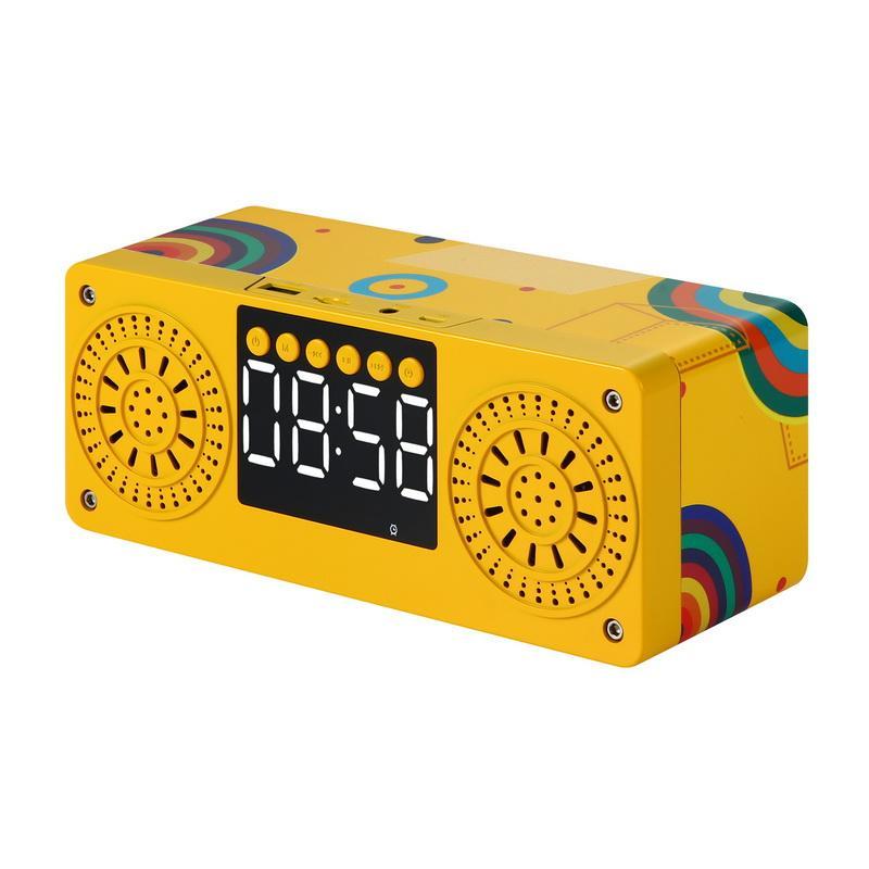 A10 Bluetooth coloré Bluetooth Sans fil portable Réveil en bois Bluetooth5.0 Basses en haut-parleurs avec carte U Disk TF FM Time Affichage