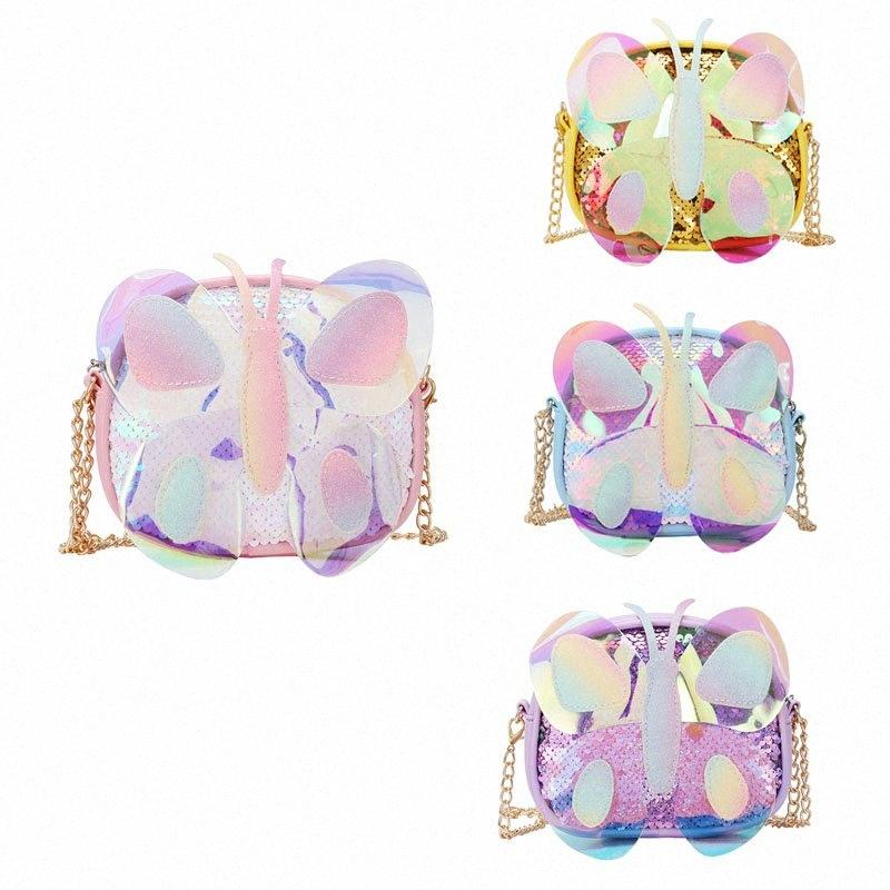 2020 Korean Childrens Mini Purse Glitter Little Girl Cute Laser Small Coin Wallet Pouch Box Kids Butterfly Messenger Bag Gift G7nD#
