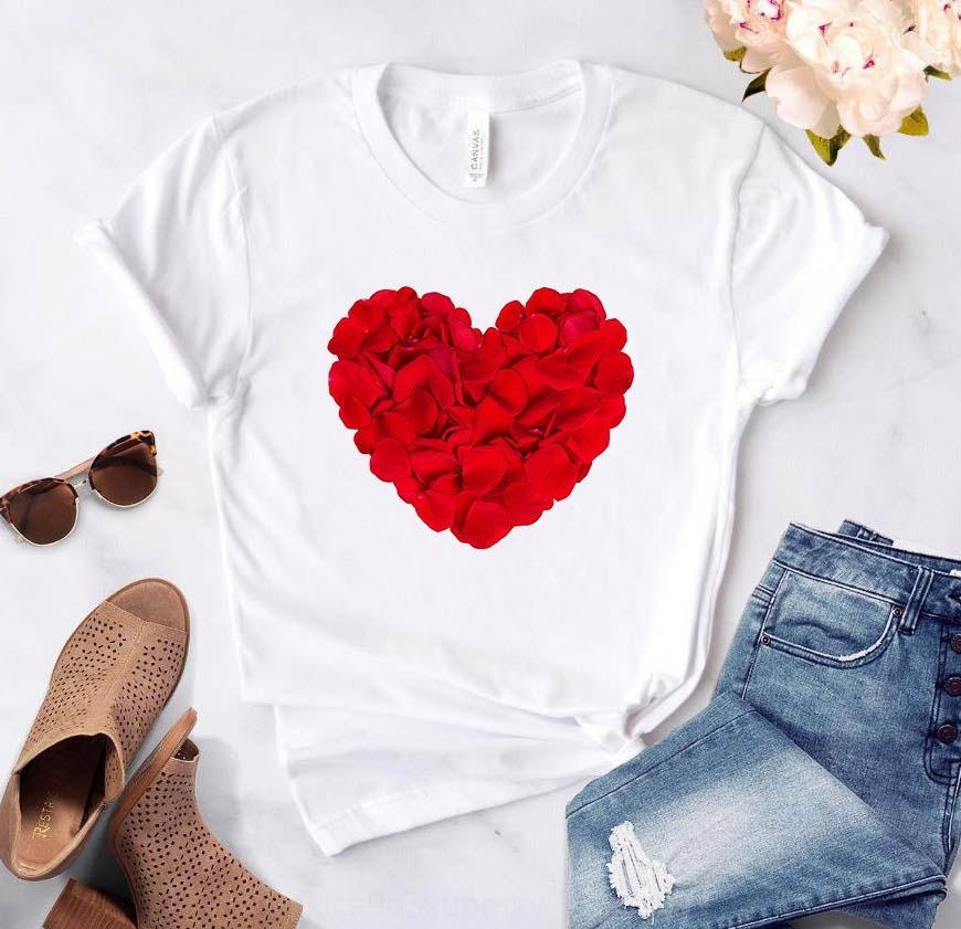 X3JpG Çiftin biri Coat tişört kısa kalp baskılı tişört üst kol erkek ve kadın MKxqM üst aşkı gül delici ok