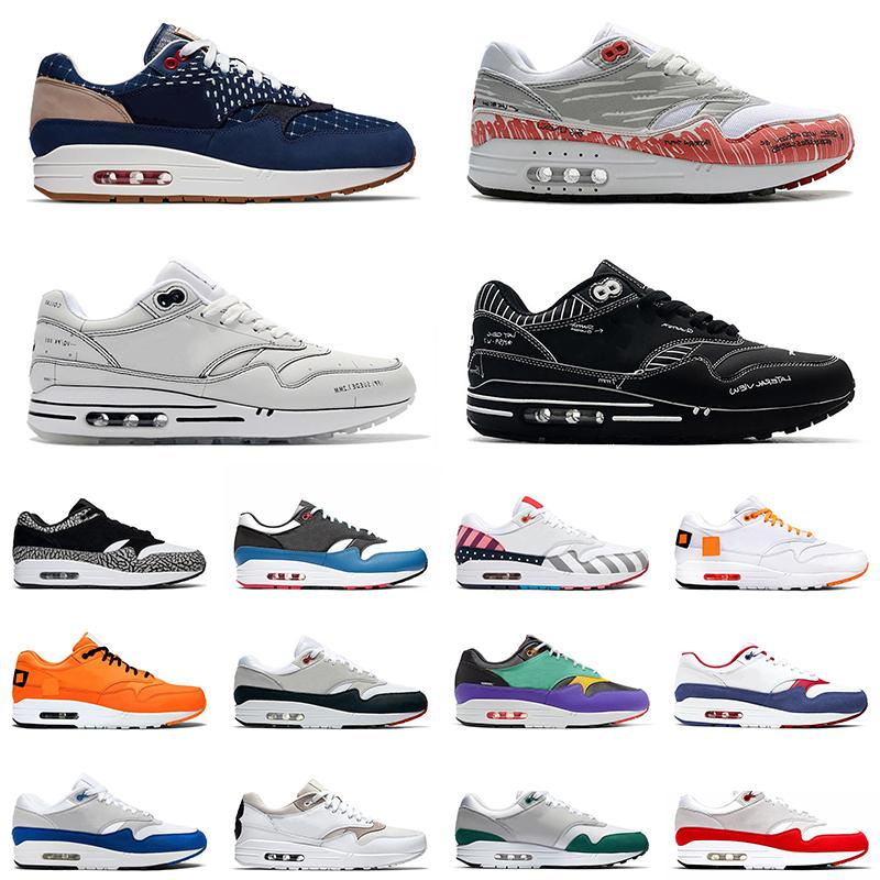 Nike Air Max 1 Hochwertige Atmos 1s Herren Laufschuhe 87s Trainer 87 OG Anniver Obsidian Parra Leopard Was der Print Sport Designer Sneakers Größe 36-45
