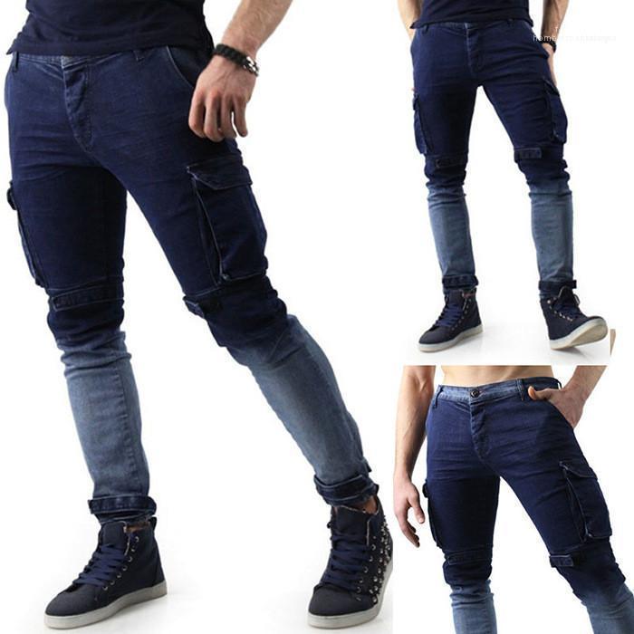Orta Bel Artı boyutu Homme Pantolon Erkek Tasarımcı Casual Jeans Slim Fit Gradyan Renk Moda