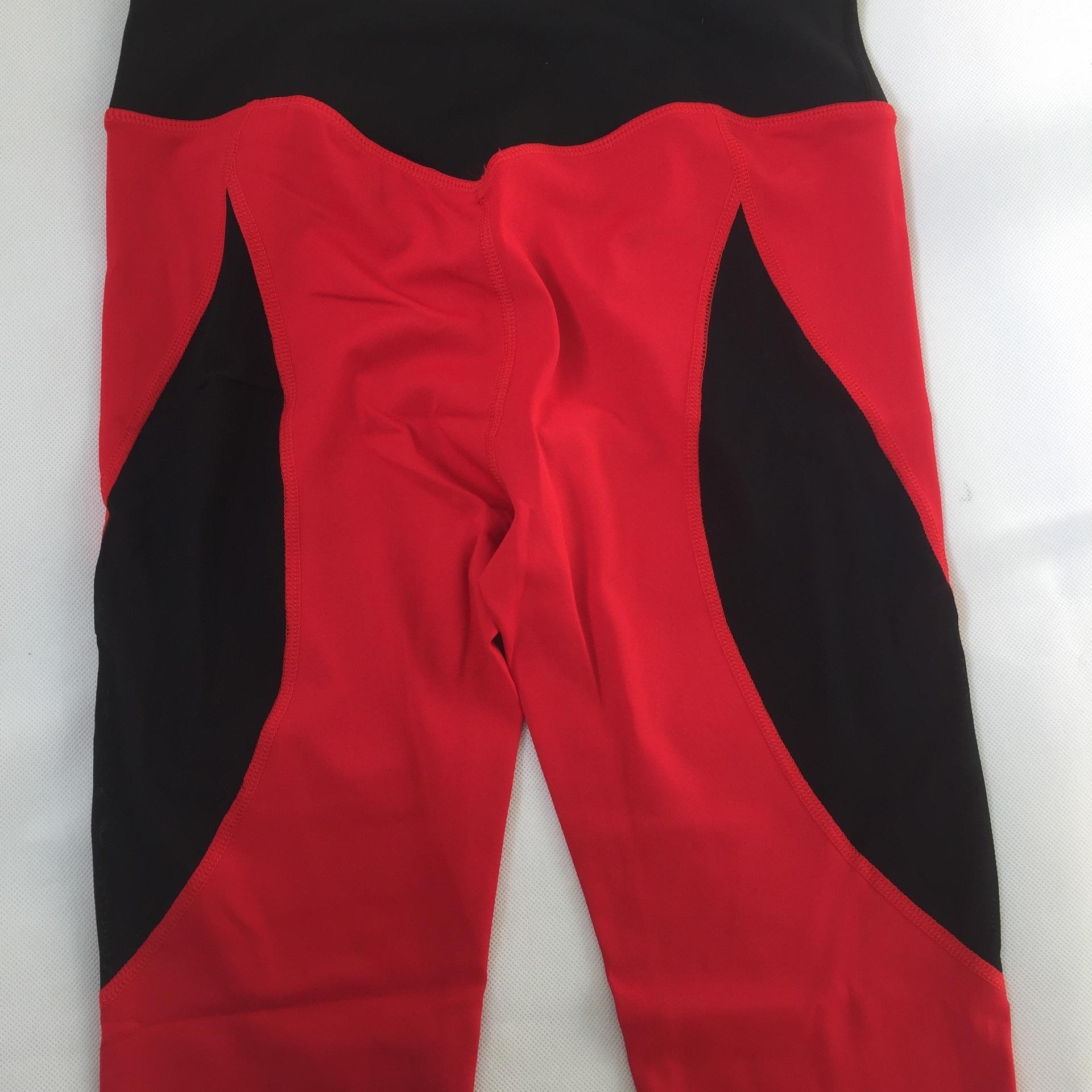 Neue Fitness-Netz schwarz und rot Heben Naht Hüfte Mesh-Yogahosen engen Stretch-Yogahosen laufen