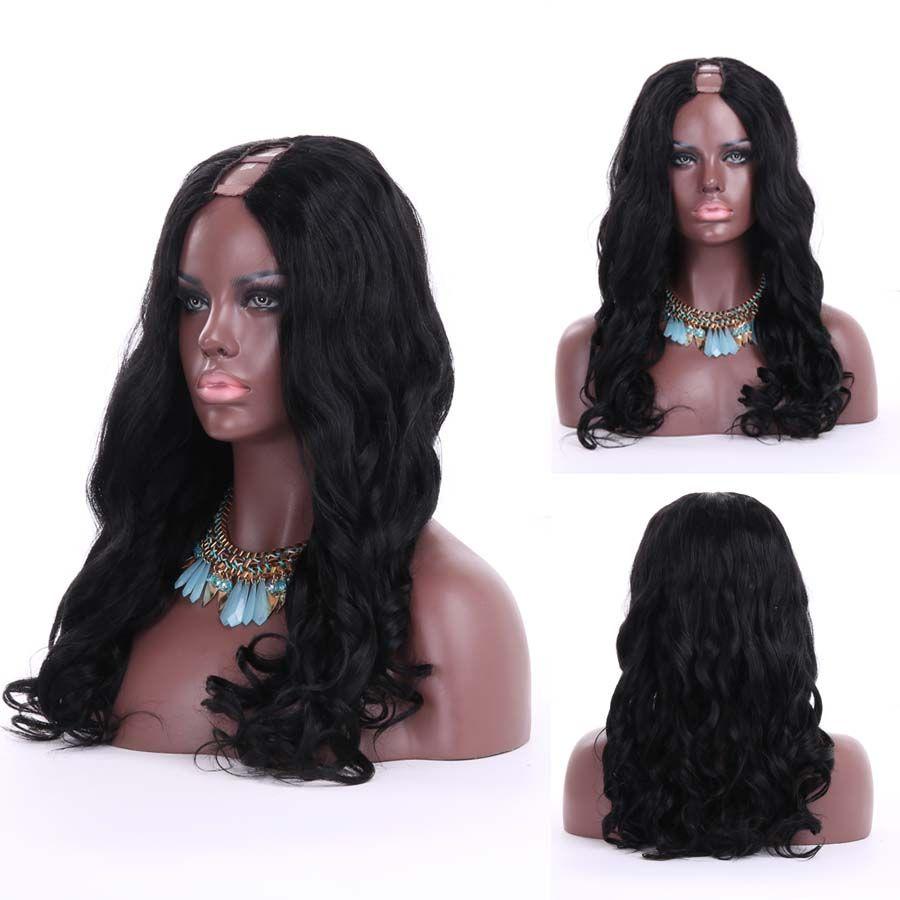 Menschenhaarperücke u Teil Yaki U Teil Perücke Körper upart Perücken für schwarze Frauen lose Welle der brasilianische reine remy Haarwelle