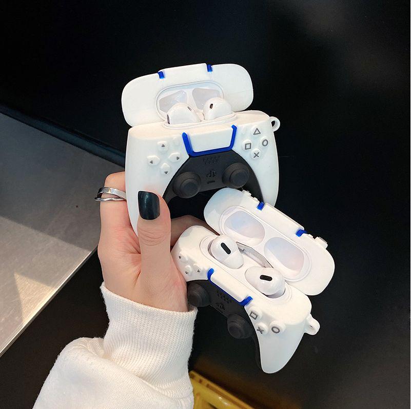 العلامة التجارية PS5 لعبة مقبض وحدة التحكم 3D الحال بالنسبة لAirPods 1 2 الموالية الشحن مربع لينة سيليكون بلوتوث اللاسلكية سماعة غطاء حماية