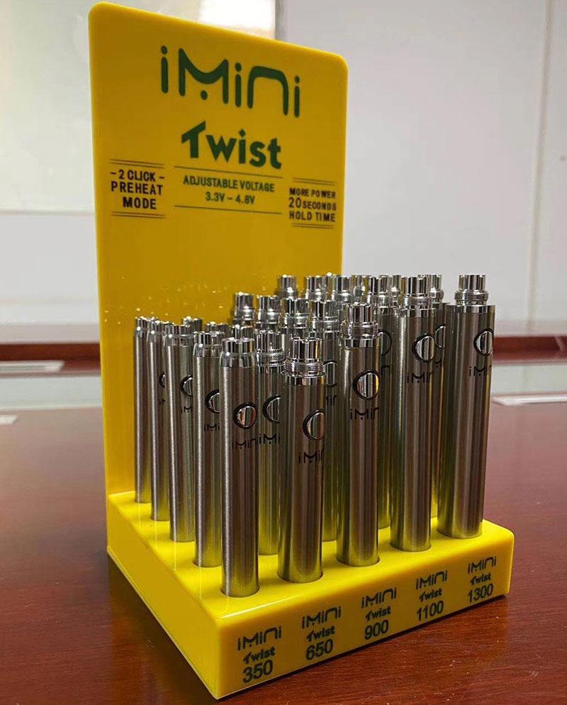 IMINI EVOD Twist Rehaat VV 350mAh 650mAh 900mAh 1100mAh 1300mAh z wyświetlaczem pola zmienna napięcie 510 bateria Vape