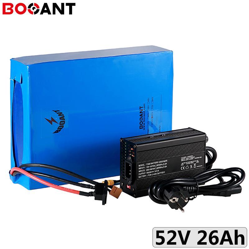 pacco batteria elettrica della bici 14S 10P 52V 26Ah per i kit motore 48V 500W 750W 1000W 1500W ebike ione litio + 5A caricatore