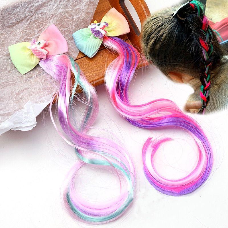Niedliche Kinderhaarschmuck Weinlese-bunte Perücke Zöpfe Hairpin Mädchen-Bogen-Haarnadel-Klipp-Haar-Schmucksachen für Partei