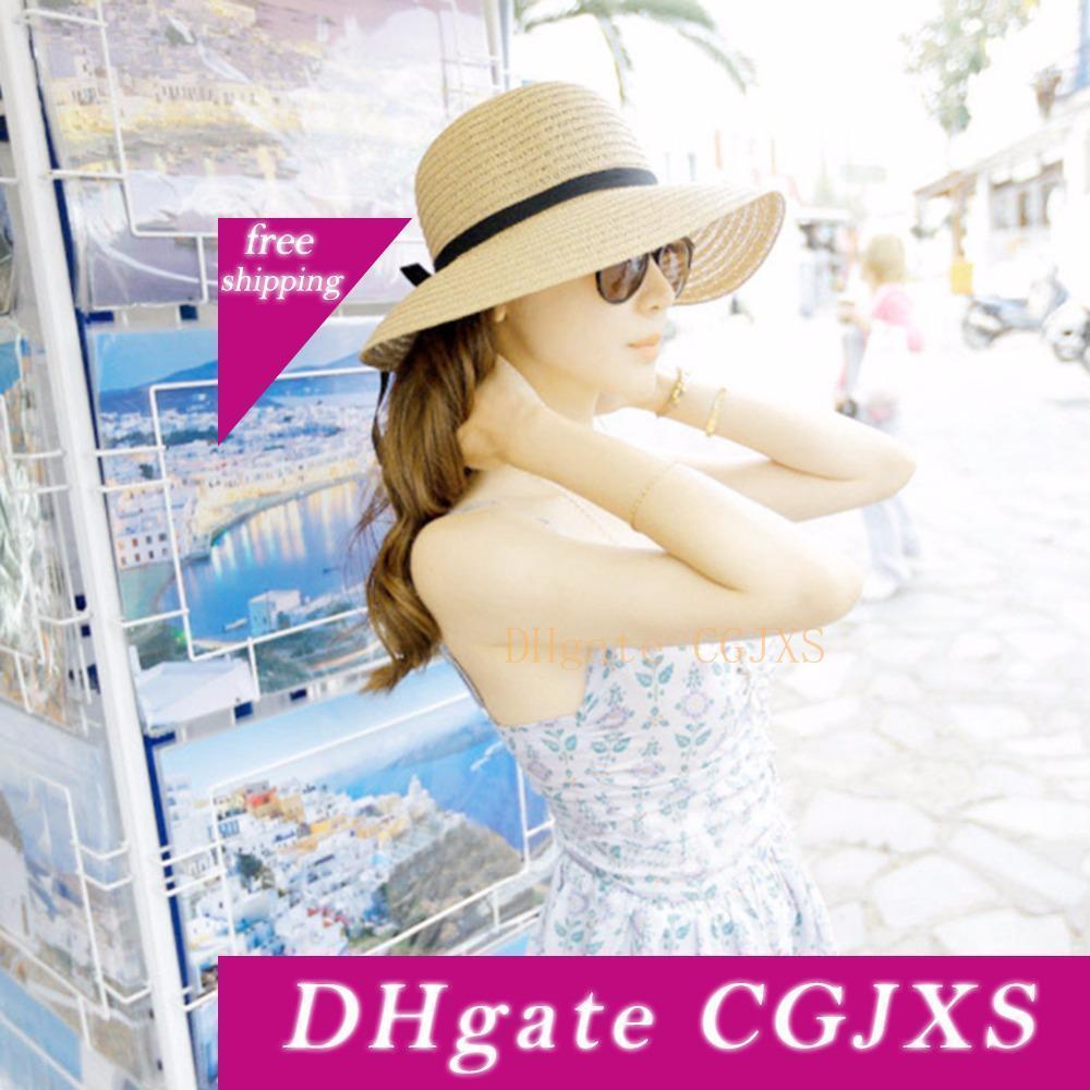 Yaz Güneş Şapkası ile ilmek Kadınlar Geniş Brim Floppy Plaj Şapka Bohemia Lady Hasır Şapka Kadınlar Plajı Güneş kremi Açık Cap 2adet
