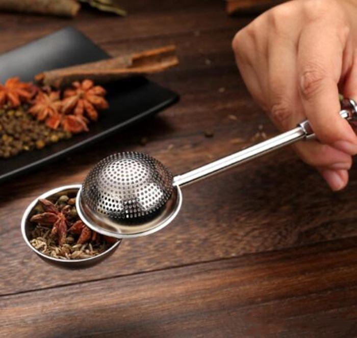 304 Stainless Steel Tea Strainer Ball Push Tea Infuser Loose Leaf Herbal Teaspoon Strainer Filter Diffuser Kitchen Bar Drinkware Tool Epack