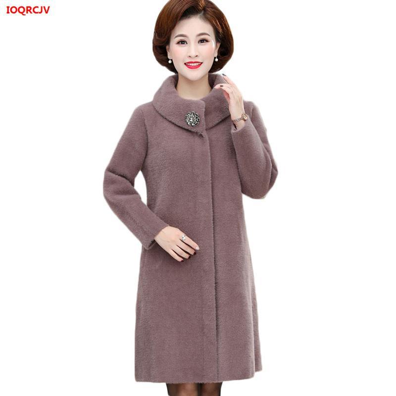 Plus Size 6XL Middle Aged Women Long Winter Jacket High Quality Faux Mink Cashmere Sweater Cardigans Coat Lady Warm Knit Outwear