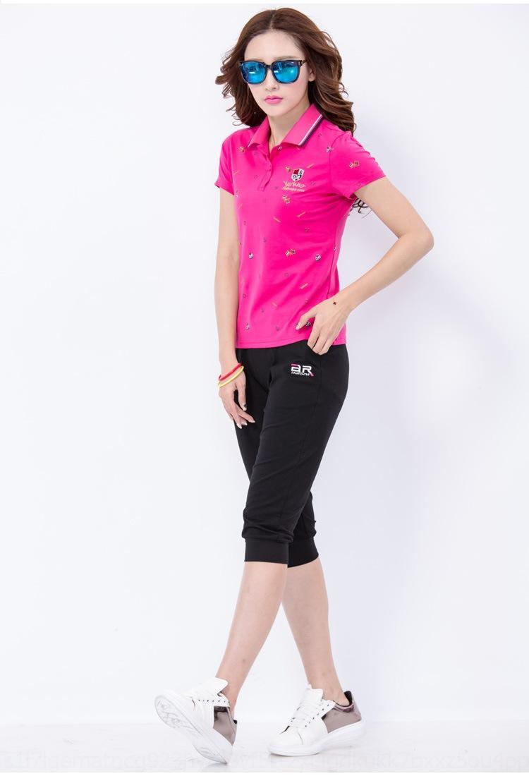 Rfki5 E7B5F 2020 estate T sciolto a maniche corte T- moda stampati sport di grandi dimensioni camicia women's- sudore bavero sudore camicia di polo per mezzo
