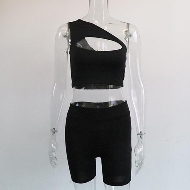 OrbAT 2020 hollow-out summer one-shoulder suit vest cropped Nine nine pants Vest ankle-length pants yoga new