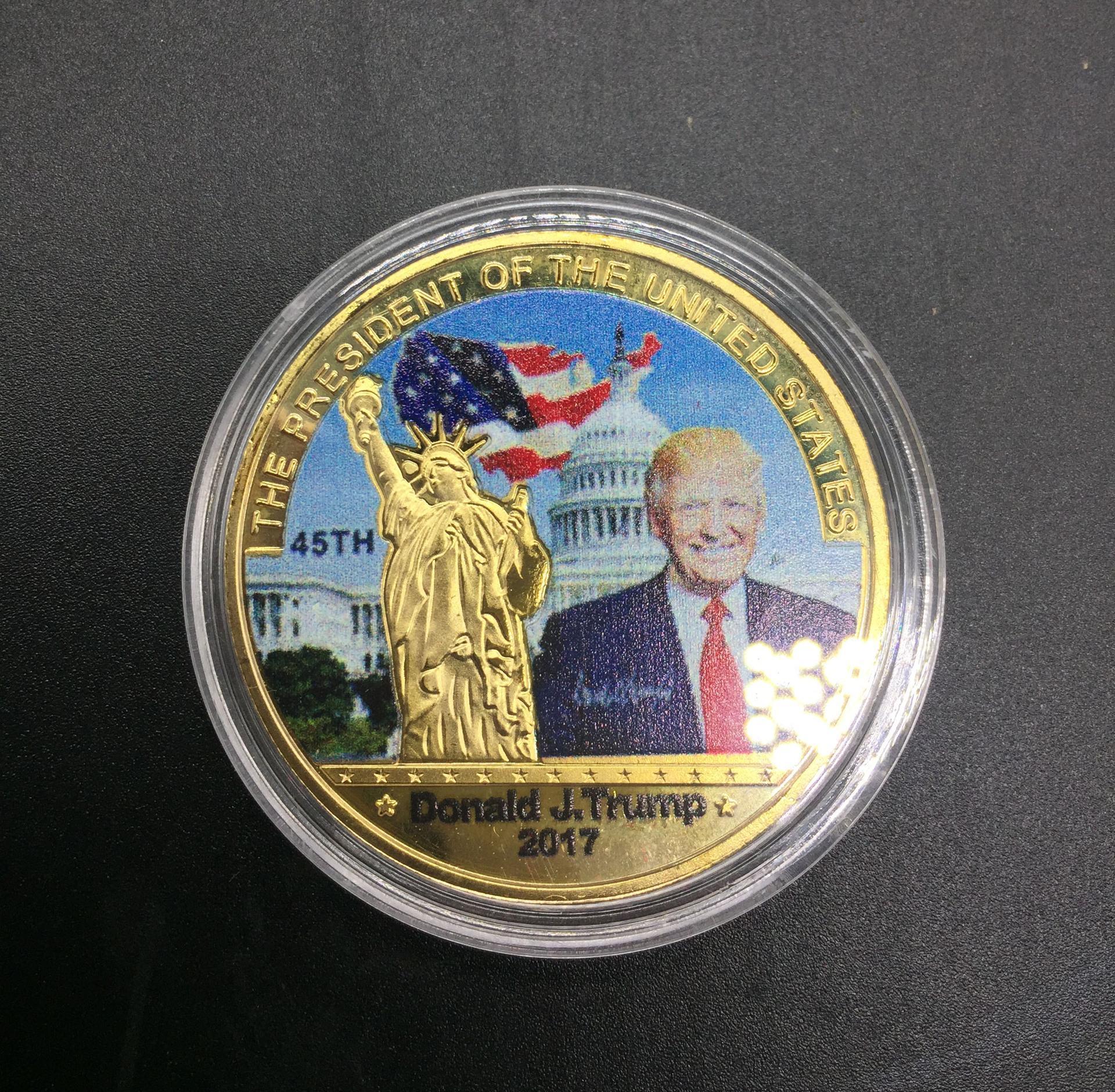 Or argent Donald Trump Badge Coin président américain Métal Craft Pièces commémoratives dayupshop LnvIk