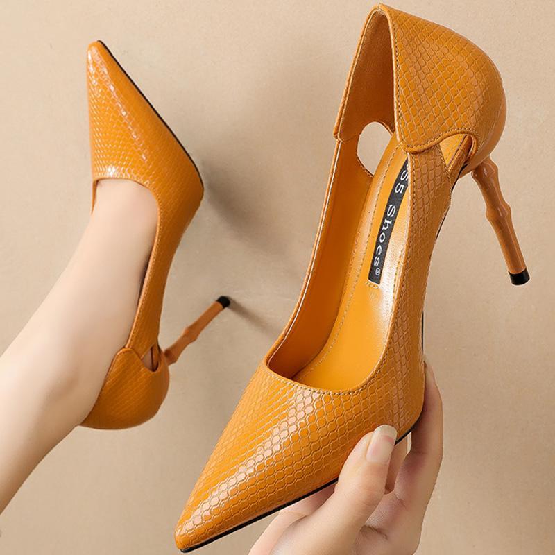 حذاء اللباس 2021 أزياء المرأة 10 سنتيمتر عالية الكعب وأشار اصبع القدم الأفعى طباعة عدن الفاخرة تصميم مضخات جلدية مثير الحب secarpins