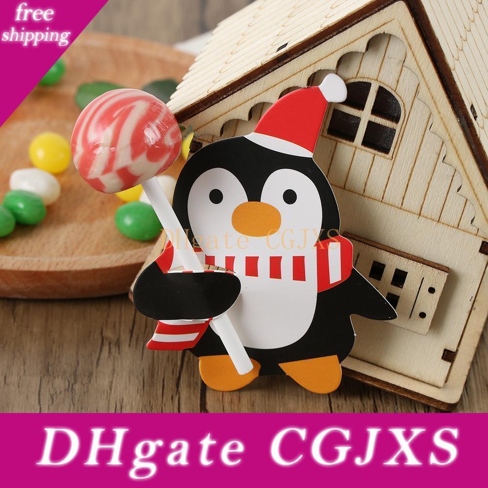 50pcs Xmas детей Санта-Клаус Penguin Lollipop держатель Рождество Декор бумаги украшения карты Candy Xmas Party