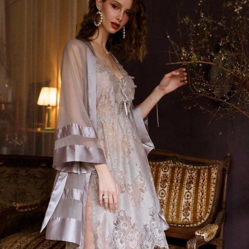 Tentation Mesh Satin Kimono Robe grise sexy chemise de nuit Peignoir Matin mariage Robes Sous-vêtements transparent Lingerie Sexy Bq1J #