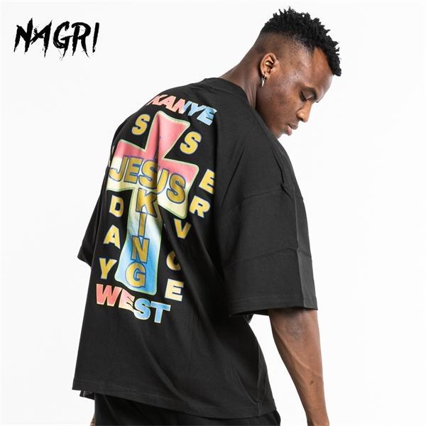 Nagri 2020 camiseta t-shirt Homens Kanye Jesus é rei Design Cruz retro criativa Hip Hop Homme cobre T 0924