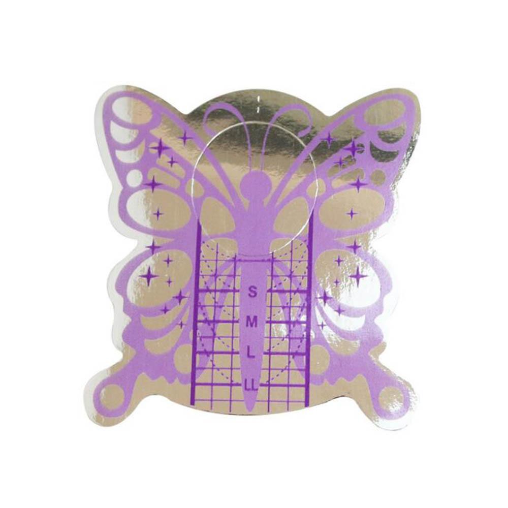 100 Pieces prego Forma Guia Art Form Purple Butterfly Guia Adesivos acrílicas Dicas de UV Gel de extensão