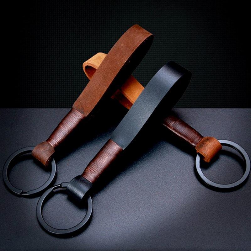 Chains Top Grade Handmade real Couro de couro corda chaveiro de metal chave homens ou mulheres porta-chaves Presentes Tampa Auto Keyring