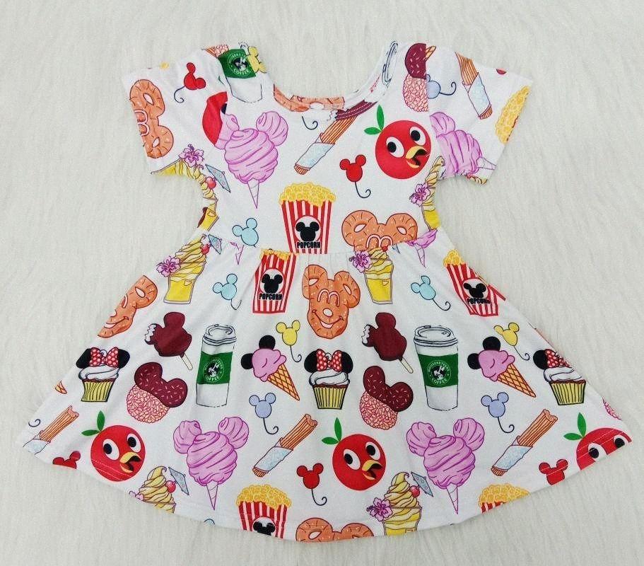 2020 2020 Bulk Оптовая Дети Летняя одежда Девочки Одежда Мода коротким рукавом мультфильм платье Дети Семья Matching Одежда Wdeg #