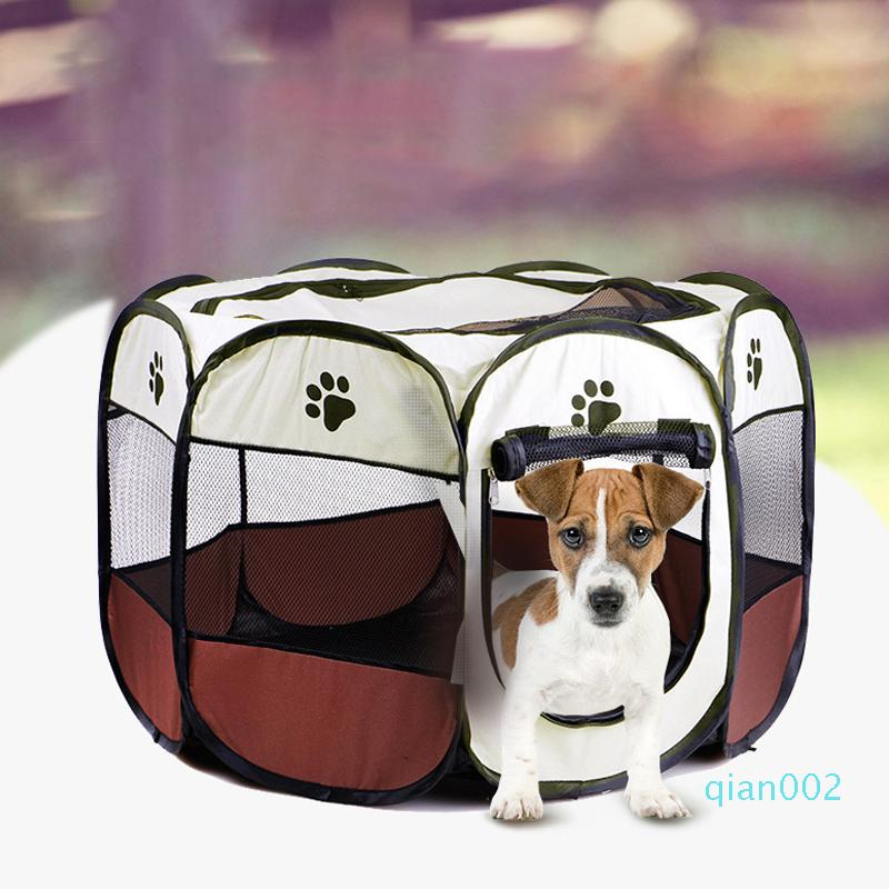 Folding Pet Carrier Tent Playpen Dog Cat Fence Cage Puppy Kennel Large Space Foldable Exercise Play Indoor Outdoor